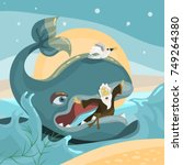jonah and the whale   bible... | Shutterstock .eps vector #749264380