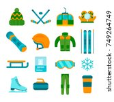 winter sports icons set on...
