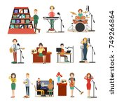 vector illustration of singers  ... | Shutterstock .eps vector #749266864