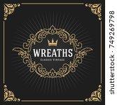 vintage luxury monogram logo... | Shutterstock .eps vector #749269798