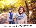 senior couple on a walk in... | Shutterstock . vector #749270173