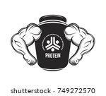sport nutrition. protein jar.... | Shutterstock .eps vector #749272570