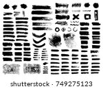 painted grunge stripes set.... | Shutterstock .eps vector #749275123