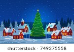 festive cozy decorated house or ... | Shutterstock .eps vector #749275558