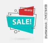 sale banner template in memphis ... | Shutterstock .eps vector #749276458