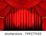 red curtain of stage with spot... | Shutterstock . vector #749277433