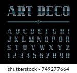 vector of art deco font and... | Shutterstock .eps vector #749277664