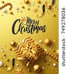 christmas and new years golden... | Shutterstock .eps vector #749278036