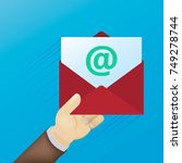 email message concept. new ... | Shutterstock .eps vector #749278744