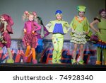 "DNEPROPETROVSK, UKRAINE - APRIL 9: Children's fashion theater ""Mal-a-hit"" presents a collection of ""Gogoriki"" at the ""Fashion town"" festival  on April 9, 2011 in Dnepropetrovsk, Ukraine - stock photo"