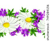 vector seamless flower pattern... | Shutterstock .eps vector #749284156