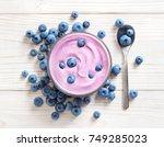 Blueberry Yogurt On White...
