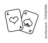 playing cards icon. vector line ...   Shutterstock .eps vector #749285983