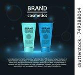 3d realistic cosmetic bottle... | Shutterstock .eps vector #749288014