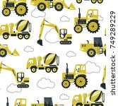 seamless pattern with  yellow... | Shutterstock .eps vector #749289229