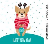 new year greeting card with... | Shutterstock .eps vector #749290156