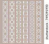 vector set of line borders with ... | Shutterstock .eps vector #749291950