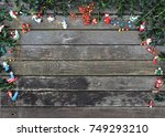 christmas background rustic... | Shutterstock . vector #749293210