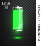 charged battery. low battery....   Shutterstock .eps vector #749294368