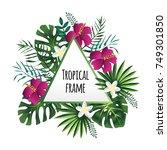 triangular tropical frame ...   Shutterstock . vector #749301850