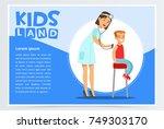 therapist listening boy s back... | Shutterstock .eps vector #749303170