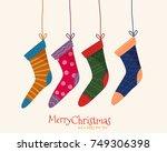 christmas colorful socks.  flat ...   Shutterstock .eps vector #749306398