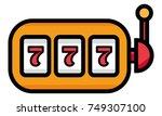 lucky seven on slot machine... | Shutterstock .eps vector #749307100
