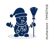 snowman icon with hat  scarf ... | Shutterstock .eps vector #749307418