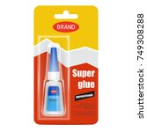 colorful tube of super fix glue ... | Shutterstock .eps vector #749308288