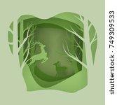 vector background of cut paper... | Shutterstock .eps vector #749309533