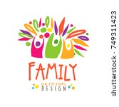 colorful happy family logo... | Shutterstock .eps vector #749311423