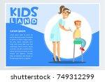 woman pediatrician giving boy... | Shutterstock .eps vector #749312299