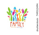 colorful happy family logo... | Shutterstock .eps vector #749312494