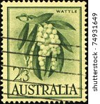 Small photo of AUSTRALIA - CIRCA 1959: A stamp printed in Australia shows Golden Wattle - Acacia pycnantha, circa 1959