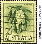Small photo of AUSTRALIA - CIRCA 1959: A stamp printed in Australia shows Golden Wattle - Acacia pycnantha, circa 1959