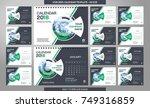 desk calendar 2018 template  ... | Shutterstock .eps vector #749316859