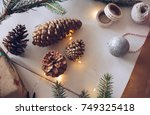 christmas gift preparation | Shutterstock . vector #749325418