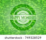 happy monday  green emblem.... | Shutterstock .eps vector #749328529