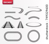 vector rails set. railway... | Shutterstock .eps vector #749329600