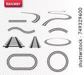 vector rails set. railway... | Shutterstock .eps vector #749329600