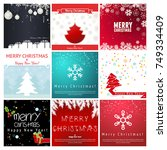 christmas greeting card set.... | Shutterstock .eps vector #749334409