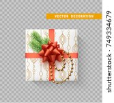gift box with bow and ribbon... | Shutterstock .eps vector #749334679