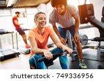 young beautiful woman doing...   Shutterstock . vector #749336956