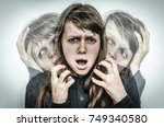 woman with split personality... | Shutterstock . vector #749340580
