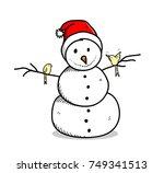 Snowman Wearing Santa Hat...