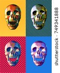 low poly skull front view open... | Shutterstock .eps vector #749341888