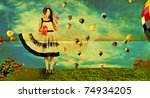 beauty young woman on nature, green grass, blue sky,retro paper texture - stock photo