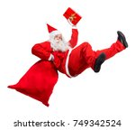 funny santa claus falls with a... | Shutterstock . vector #749342524