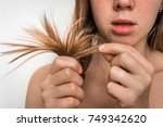 woman with hair problems  ... | Shutterstock . vector #749342620
