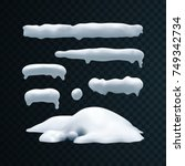 vector set of snow caps ... | Shutterstock .eps vector #749342734